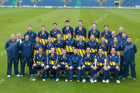 27.03.14 - Glamorgan CCC - Photocall -  Back Row: Mark Rausa (Physio), Andrew Salter, Ruaidhri Smith, Mike Reed, Jack Murphy, Aneurin Donald, Kieran Bull, Roger Skyrme (Kit man), Middle: Richard Almond (Academy Manager), Andrew Hignell (Scorer), Rob Ahmun (S&C Coach), David Lloyd, Ben Wright, Huw Waters, John Glover, Will Owen, Stewart Walters, Chris Cooke, Will Bragg; behind (David Harrison (Analyst), Steve Watkin (Bowling Coach), Robert Croft (Bowling Coach) Front: Michael Hogan, Graham Wagg, Mark Wallace (c), Toby Radford (Head Coach), Jim Allenby (T20 Captain), Dean Cosker, Gareth Rees