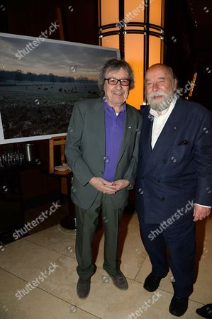 "Bill Wyman and his work ""Richmond Park, Surrey, at sunset (December 2012)"" and Sir Roy Ackerman."