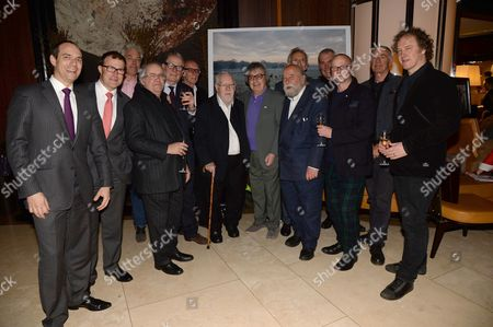 Christophe Hilty, Roland Fasel, guests, Sir Peter Blake, Bill Wyman, Sir Roy Ackerman, Patrick Hughes, guests and Christian Furr