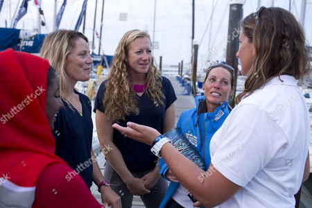 Women Sailors Raya Al Habsi, Sam Davies, Helena Lucas, Annie Lush and Dee Caffari at the end of Ladies day at Cowes Week