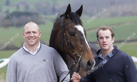 Mike Tindall and James Simpson-Daniel with Monbeg Dude