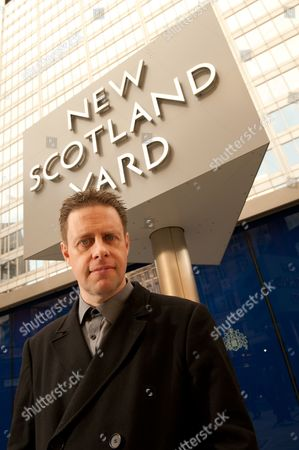 London United Kingdom - October 10: Portrait Of British Author And Screenwriter Paul Cornell Photographed Outside The New Scotland Yard Building In London On October 10