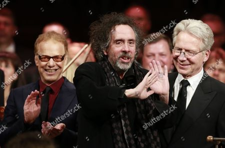 Stock Picture of Danny Elfman and Tim Burton with conductor John Mauceri