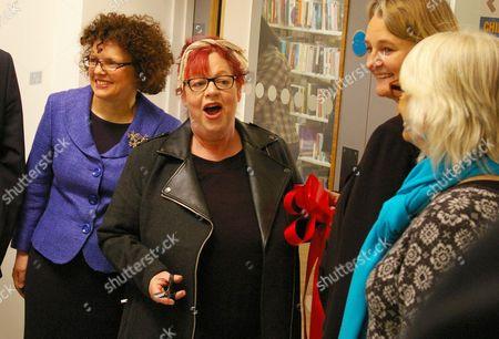 Councillor Sally Prentice, Jo Brand, Leader of Lambeth Council Cllr Lib Peck and Bridged Hall