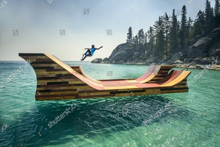Editorial picture of World's first ever floating skate ramp built as part of Visit California campaign, America - 24 Mar 2014