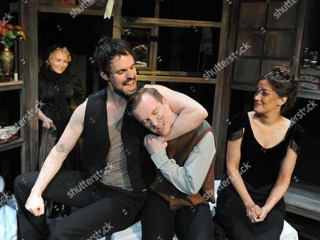 Stock Image of Tara Hugo as Madame Raquin, Ben Lewis as Laurent,  Jeremy Legat Camille,  Julie Atherton as Therese,