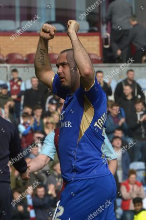 Gary Taylor-Fletcher of Leicester City celebrates victory at full time