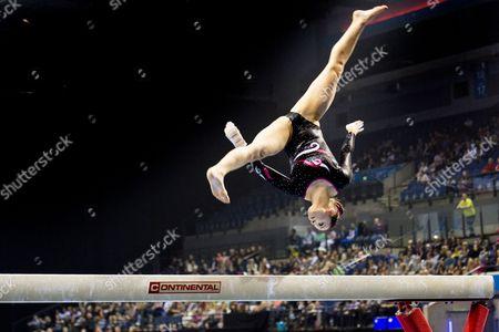 Hannah Whelan competes on the beam at the British Gymnastics Masters Final