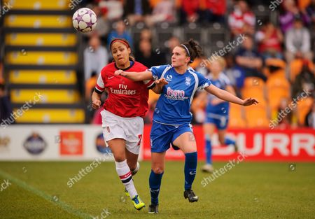 Stock Image of Alex Scott of Arsenal Ladies and Melissa Lawley of Birmingham City Ladies