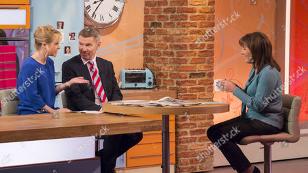 Jane Martinson and Andrew Pierce with Lorraine Kelly