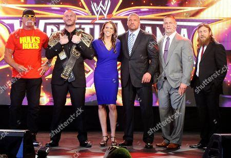 Hulk Hogan, Randy Orton, Stephanie McMahon-Levesque, Paul Levesque, John Cena and Daniel Bryan