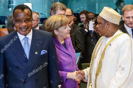 Congolese President Denis Sassou Nguesso, German Chancellor Angela Merkel and Comoros President Ikililou Dhoinine