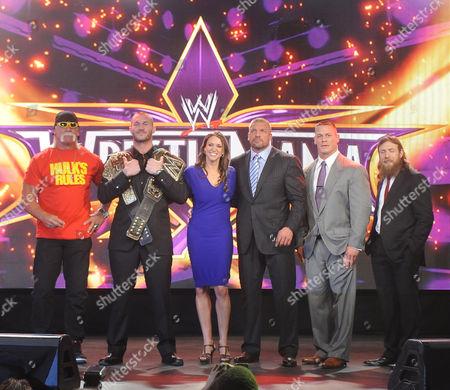 Hulk Hogan and Randy Orton and Stephanie McMahon-Levesque and Paul Levesque and John Cena and Daniel Bryan