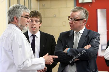 Michael Gove MP in Year 12 chemistry lesson with Head of Science Paul Knight and Tom Pursglove, Conservative Parliamentary Candidate for Corby and East Northants