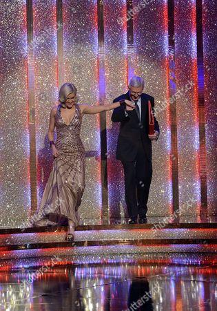 Michael Aspel and Ashley Roberts