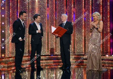 Anthony McPartlin and Declan Donnelly with Michael Aspel and Ashley Roberts