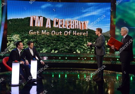 Anthony McPartlin and Declan Donnelly with Joe Swash and Michael Aspel