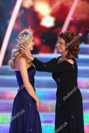 Stock Picture of Sophia Loren crowns winner Gabriela Frankova the new Czech Miss 2014
