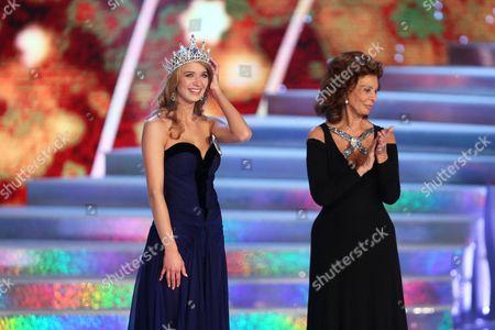 Stock Photo of Sophia Loren crowns winner Gabriela Frankova the new Czech Miss 2014