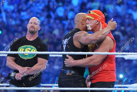 Stone Cold Steve Austin, Dwayne Johnson and Hulk Hogan