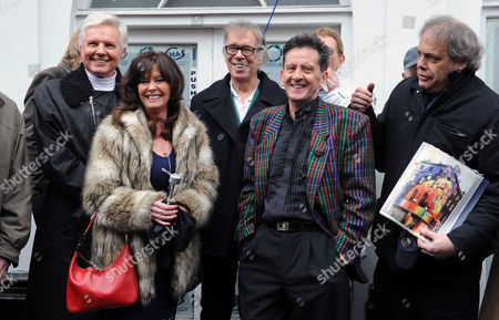 Actress Vicky Michelle And Frank Allen From The Searchers Who Helped With The Unveiling Of The Plaque (front). Former Beatles Are Posthumously Honoured By The Heritage Foundation On Baker Street Today By The Unveiling Of A New Blue Plaque.  .