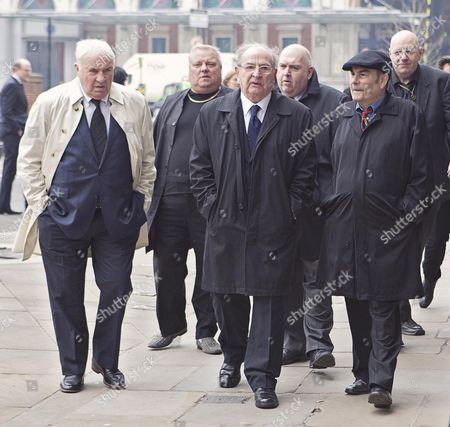 Freddie Foreman 80 (front Centre) Arriving With Eric Hall (right) At The Funeral Of Great Train Robber Bruce Reynolds.