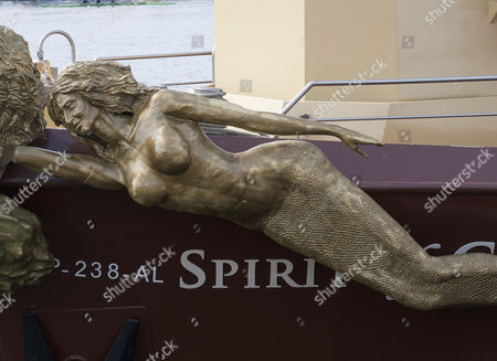 The New Sculpture Modelled On The Wife Of The Ceo Mario Ferreira On The Bow Of 'the Spirit Of Chartwell' Flagship Of The Queen's Jubilee River Pageant Last Summer Now Operating As A Cruise Liner Under A Portuguese Flag Out Of Porto. 21.3.13 Reporter Alasdair Glennie.