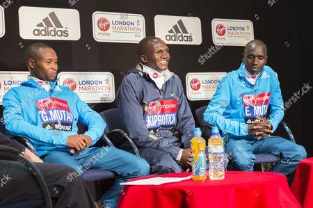 Geoffrey Mutai (Kenya), Stephen Kiprotich (Uganda), Emmanuel Mutai (Kenya)