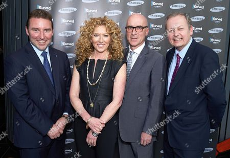 Stock Image of Robert King (VP Consumer Electronics at Samsung UK and Ireland) Kelly Hoppen MBE, John Mathieson and Andy Griffiths (President of Samsung UK and Ireland)