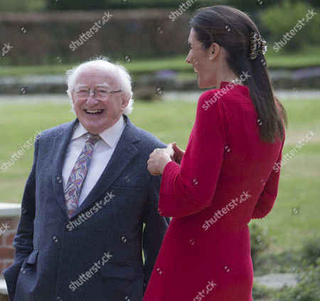 President Michael D Higgins chats with Anna-Lisa Balding