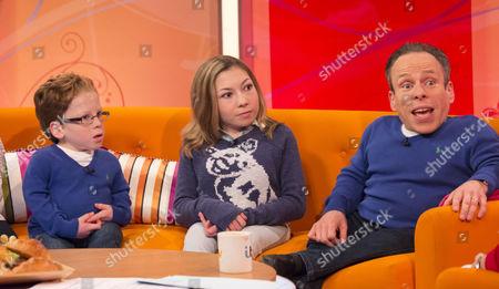 Warwick Davis and children Annabel Davis and Harrison Davis