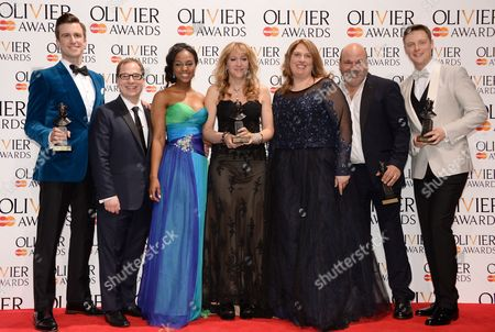 Stock Photo of Gavin Creel, Jared Gertner, Alexia Khadime, Sonia Friedman, Anne Garefino, Casey Nicholaw and Stephen Ashfield winners of the Mastercard best new Musical