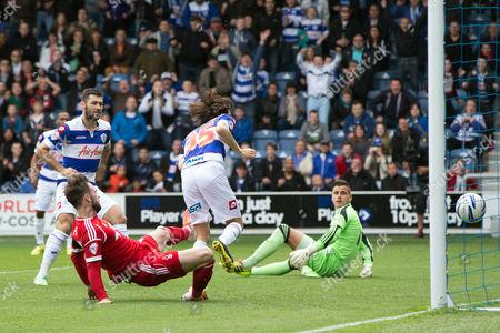 Yossi Benayoun of QPR scores a goal to make it 1-0
