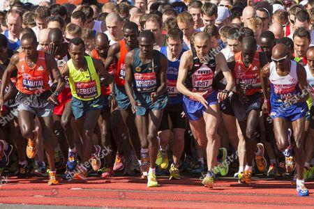 Stock Photo of Elite runners: Geoffrey Mutai, Tsegaye Kebede, Stephen Kiprotich, Emmanuel Mutai and Mo Farah