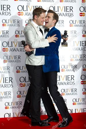 Stephen Ashfield accepts the award for Best performance in a Supporting Role in a Musical for The Book of Mormon and Gavin Creel accepts the award for Best Actor in a Musical for The Book Of Mormon