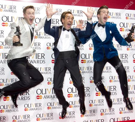 Stephen Ashfield accepts the award for Best performance in a Supporting Role in a Musical for The Book of Mormon and Gavin Creel accepts the award for Best Actor in a Musical for The Book Of Mormon, presented by Robert Lindsay