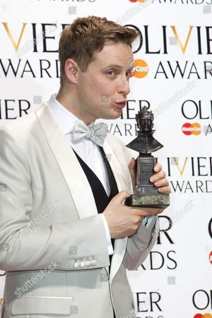 Stephen Ashfield accepts the award for Best performance in a Supporting Role in a Musical for The Book of Mormon