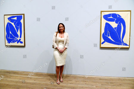 Sophie Matisse, great granddaughter of Matisse with Blue Nude III (l) and Blue Nude II (r)