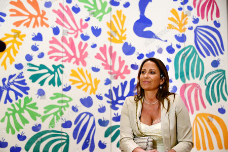 Sophie Matisse, great granddaughter of Matisse in front of The Parakeet and the Mermaid