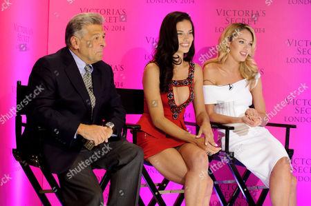 Stock Picture of Victoria Secret's CMO Ed Razek, Adriana Lima and Candice Swanepoel