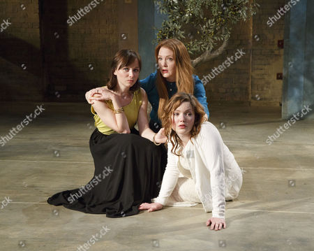 Emily Taaffe (Masha), (rear) Olivia Hallinan (Olga), Holliday Grainger (Irina)