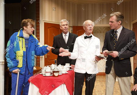 l-r: Tom Golding (Edward Bristow), Jeffrey Holland (Manager), Ray Cooney (Waiter), Michael Praed (Richard Willey)