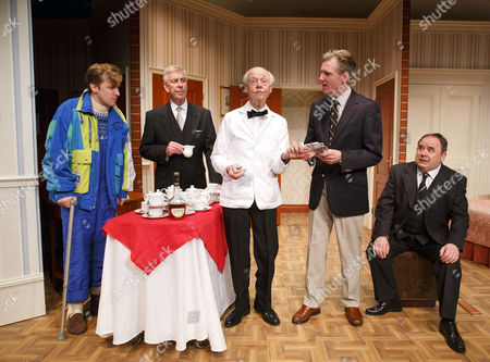 Stock Photo of l-r: Tom Golding (Edward Bristow), Jeffrey Holland (Manager), Ray Cooney (Waiter), Michael Praed (Richard Willey), Nick Wilton (George Pigden)