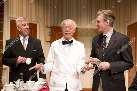 Stock Picture of Jeffrey Holland (Manager), Ray Cooney (Waiter), Michael Praed (Richard Willey)