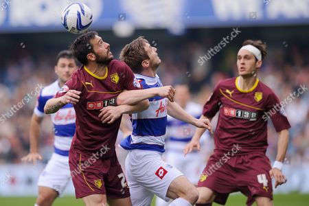 Marco Cassetti of Watford and Kevin Doyle of QPR