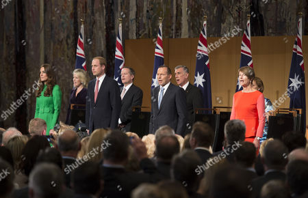 Prince William and Catherine Duchess of Cambridge, Tony Abbott, Prime Minister of Australia and wife Margie Abbott attend a Parliament House reception