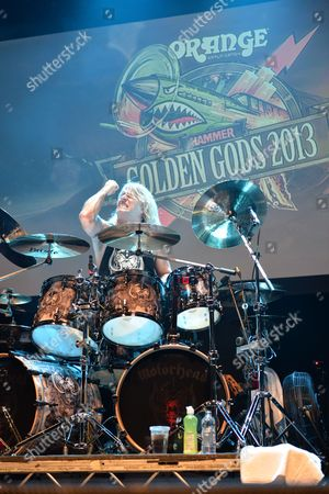London United Kingdom - June 17: Drummer Mikkey Dee Of British Hard Rock Group Motorhead Performing Live On Stage At The 2013 Golden Gods Awards In The O2 Arena London On June 17