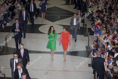 Catherine Duchess of Cambridge and Australian First Lady Margie Abbott attend the Prime Minister's Reception at Parliament House