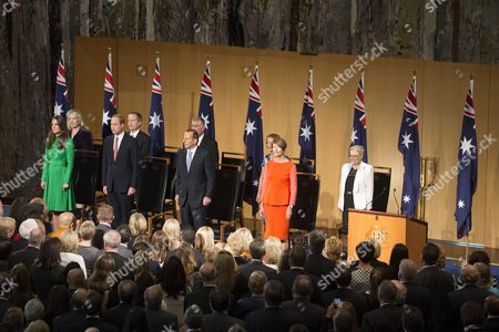 Prince William and Catherine Duchess of Cambridge, Australian Prime Minister Tony Abbott and First Lady Margie Abbott attend the Prime Minister's Reception at Parliament House