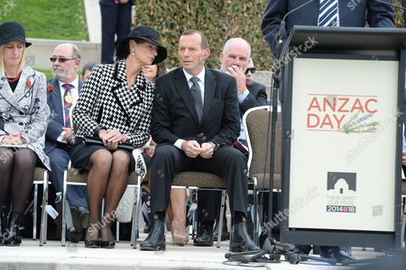 Australian Prime Minister Tony Abbott and wife Margie Abbott at the Australian War Memorial on Anzac Day